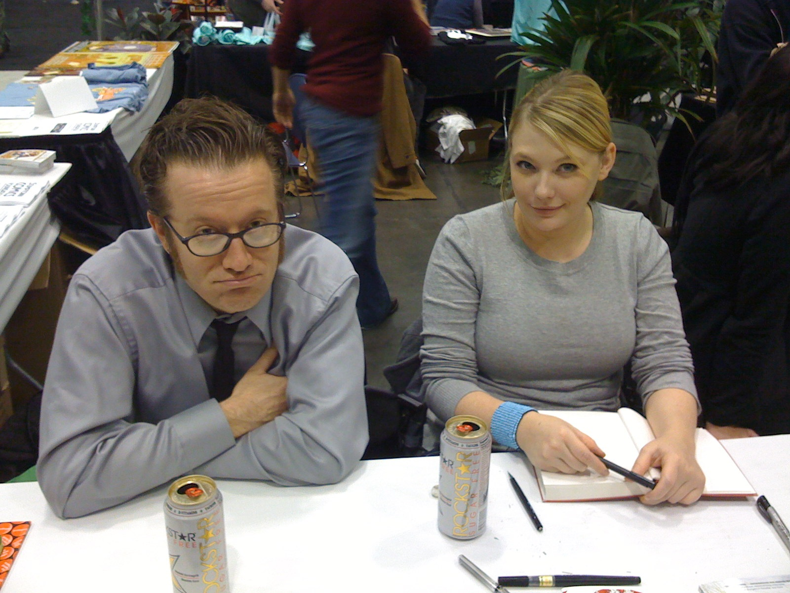 Jamie S. Rich and Joelle Jones looking bored