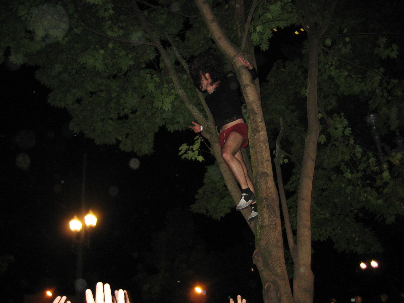 Ami Shalev Climbs A Tree Outside The Club for An Encore