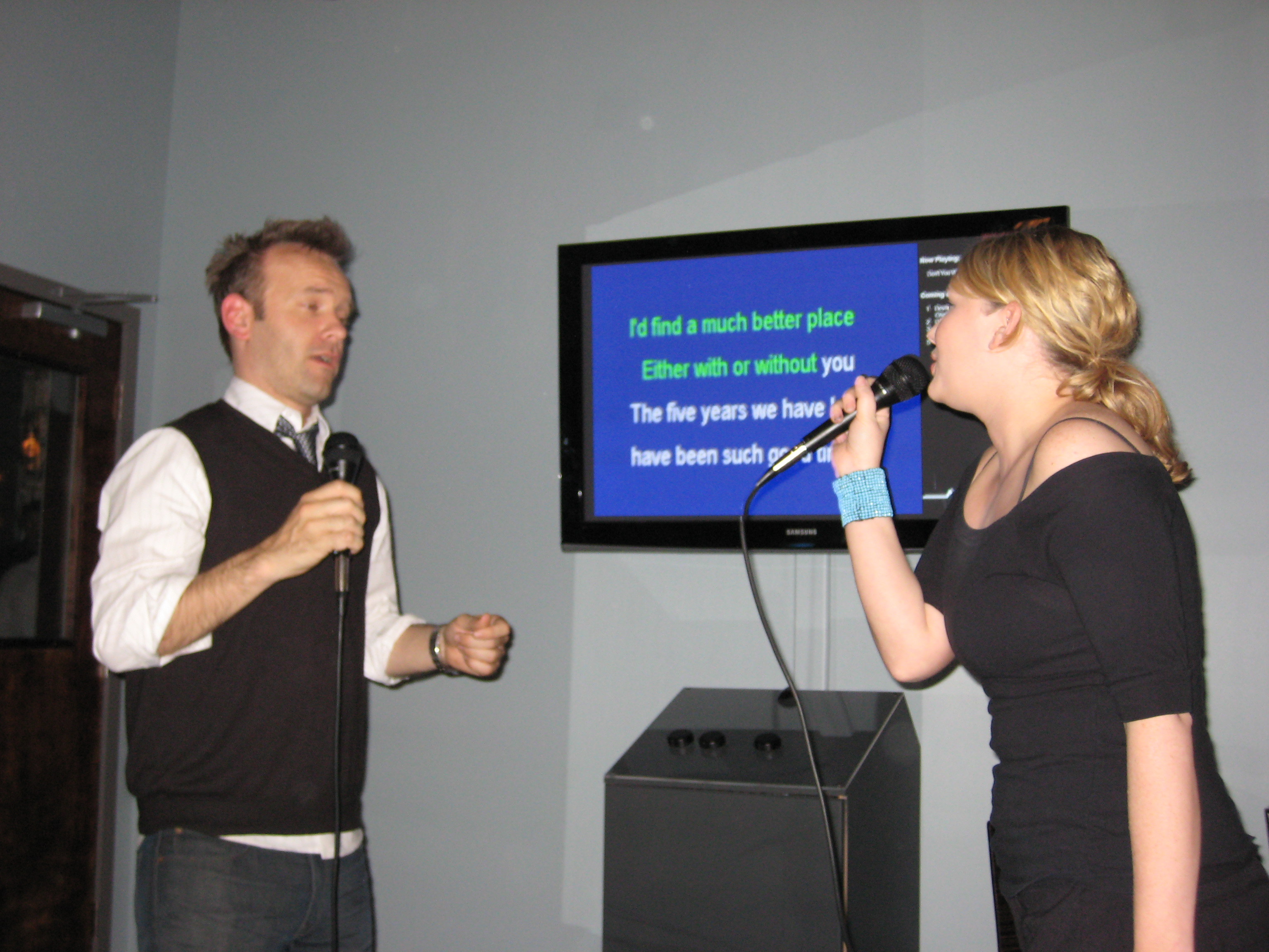 Arnold Pander and Joelle Jones at Voicebox Karaoke Portland