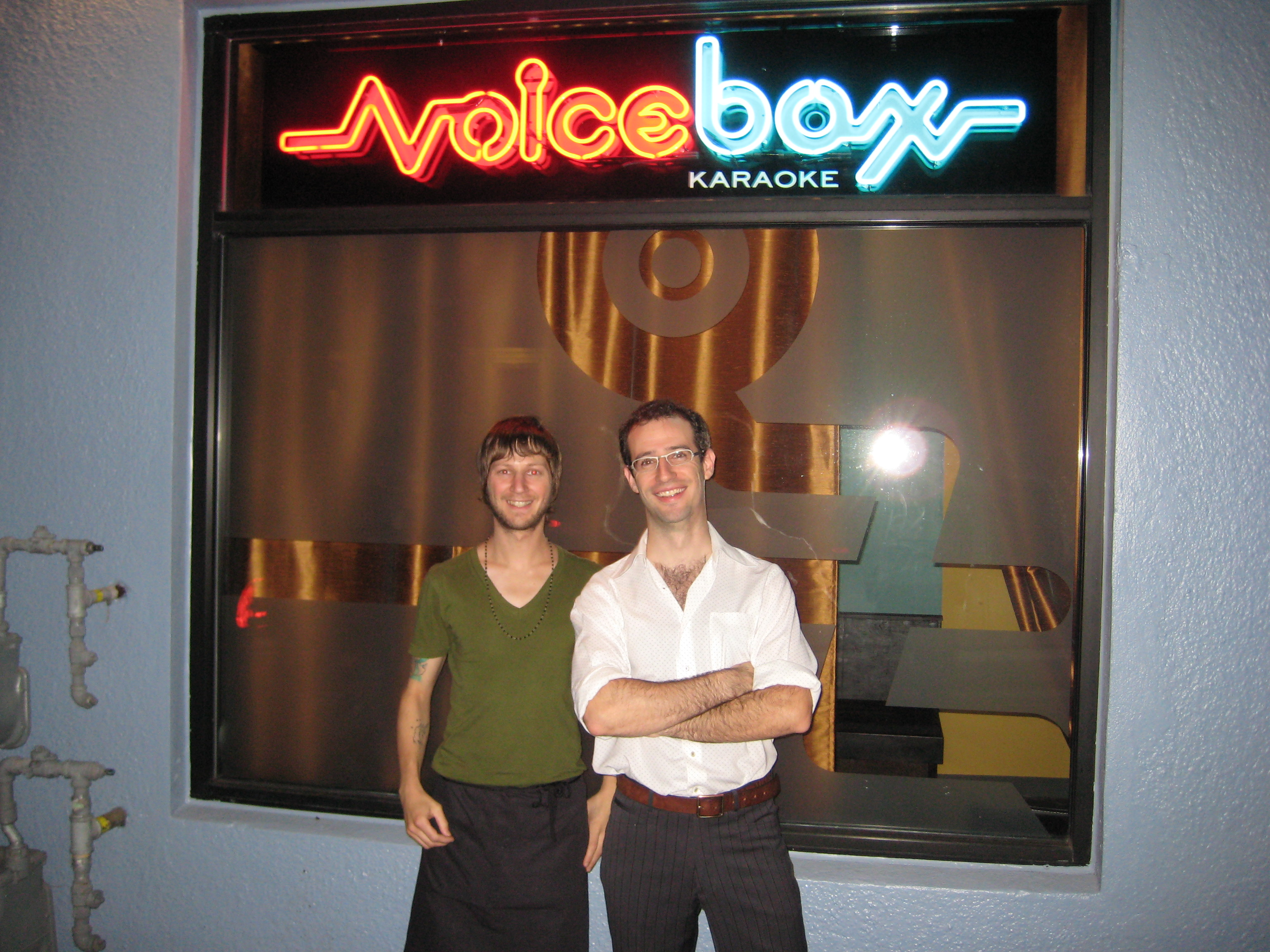 Voicebox Karakoe Owner Scott Simon Right and Server Matt left.