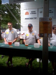 Happily Pouring Beer at The Brewers Fest