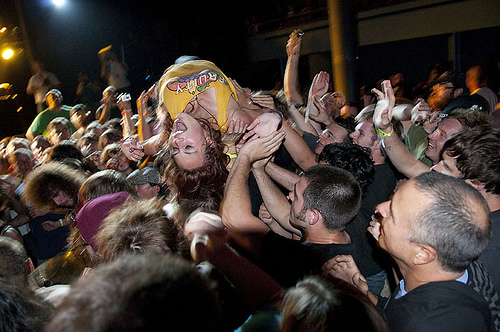 Crowd Surfing at Monotonix (photo: Ken Aaron Neighborhood Notes)