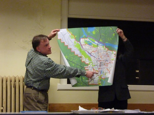 Skip McKallip With The Map of Portland Schools
