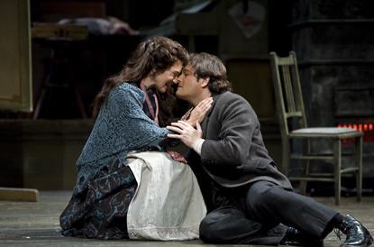 La Boheme Act I Mimi (Kelly Kaduce) and Rodolfo (Arturo Chacon-Cruz)